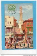 """LE CAIRE -Native Quarter -rue Animée -magasin De Liqueurs Et-champagne """"TOERLEY""""cpa Lichtenstern &harar-a Voyagé En 1913 - Le Caire"""