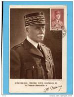 """PETAIN-""""suivez Moi Gardez Confiance En La Françe éternelle"""" Oblitération De 1944 ??? - Weltkrieg 1939-45"""