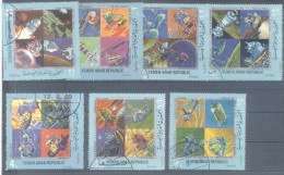 FIRST MAN ON THE MOON - HISTORY OF THE CONQUEST OF SPACE COMPLETE SET 7 TIMBRES OBLITERES YEMEN SANA 1969 RARES - Space