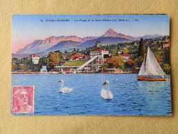 Dep 74 , Cpa(colorisée) EVIAN Les BAINS  , 78 , La Plage Et La Dent D'Oche (021)Recto/Verso - Evian-les-Bains