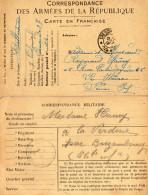 CORRESPONDANCE  DES ARMEES DE LA REPUBLIQUE Carte En Franchise/CORRESPONDANCE MILITAIRE 1917  (lot De 2) - Guerre 1914-18