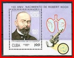 CUBA 1993 ROBERT KOCH S/S SC#3492 MNH MEDICINE, NOBEL, MICROSCOPE - Blocchi & Foglietti