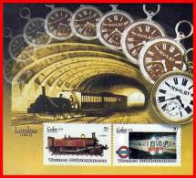CUBA 2008 TRAINS & LONDON SUBWAY (METRO) S/S MNH CLOCK, WATCH - Clocks