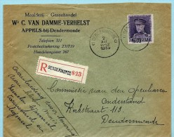 N°322 Op Aanget. Zending, Afst. DENDERMONDE C 02/12/1935, Briefhoofd : Maalderij Van Damme - Appels-bij-Dendermonde - 1931-1934 Quepis