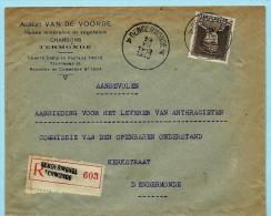 N°322A Op Aanget. Zending, Afst. DENDERMONDE A 23/07/1933, Briefhoofd : Charbons Van De Voorde - 1931-1934 Quepis