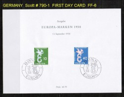 GERMANY   Scott  # 790-1  VF USED FIRST DAY SHEET (ERSTTAGSBLATT) - FDC: Panes