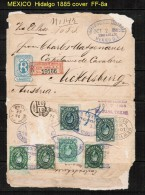 MEXICO   6 TYPE A7 HIDALGO STAMPS ON 1885 REGISTERED COVER TO AUSTRIA---RARE - Mexique