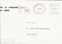 Lettre  EMA  Havas  T Aux Portes De Paris La Nievre   Monuments Tour Eiffel Thematique  58 Nevers   A37/05 - Monuments