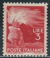Italia 1945/48 Nuovo* - Democratica £ 3 Traccia Di Linguella - 6. 1946-.. Repubblica