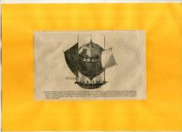 - PREMIERE EXPERIENCE DE LA MACHINE AEROSTATIQUE EN 1783 . GRAVURE SUR BOIS DU XIXe S. DECOUPEE ET  COLLEE  SUR PAPIER - Autres