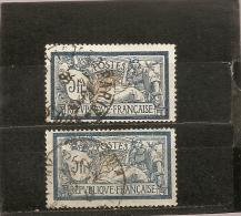 France  1900  Oblitéré  N° 123 - 123a    Type Merson  Bleu Et Chamois  &  Bleu Et Olive - 1900-27 Merson