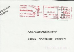 Lettre Flamme EMA Satas Sb  Plomberie Chauffage Sanitaire  Metier   Thematique 23 La Souterraine   A37/40 - Marcophilie (Lettres)