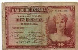 ESPAGNE - 10 Pesetas 1935 - [ 2] 1931-1936 : République
