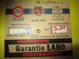 Disque De Contrôle De Statrionnement/Disque Bleu / Huile LABO/ Paris/   Vers 1960    AC105 - Unclassified