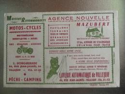 Villejuif Buvard Publicitaire Maisons Recommandees Moto Cycle Agence Laverie - Autres