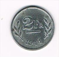 ¨¨  LEOPOLD III  2 FRANK  TYPE BEVRIJDIND  1944 - 1934-1945: Leopold III