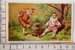 Chromo Fin 19°/ Chocolat Poulain / Polichinelle Et Pierrot / Le Partage Horloge Fut - Poulain