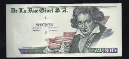 "Echantillon DE LA RUE ""Beethoven - Type M"", Testnote Mit Intaglio, Eins. Druck, RRR, UNC, Louisenthal, SPECIMEN, Wz - Banknoten"
