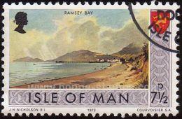 Isle Of Man, Sc , SG 25 Used, Not Hinged - 1973 7 1/2p.  - Bay, Heraldic, Beaches - Isla De Man
