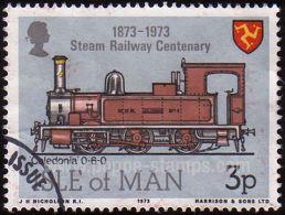 "Isle Of Man, Sc , SG 36 Used, Hinged - 1973 ""3p.  - Railway, Trains, Anniversary, Heraldic - Isla De Man"