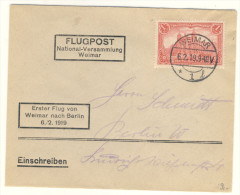 Deutsches Reich Michel No. 94 gestempelt used auf Brief / Flugpost Weimar-Berlin 1919