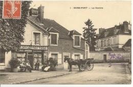 """SEINE-PORT - Le Centre - Café  """"AU BON COIN"""" Vend Cartes Illustrées, Tabac - Clients En Terrasse - 2 Scans, TBE - France"""