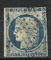 """YT 4 """" Cérès 25c. Bleu """" 1850  étoile - 1849-1850 Ceres"""