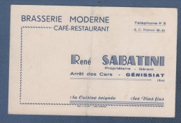 CARTE COMMERCIALE BRASSERIE MODERNE RENE SABATINI CAFE RESTAURANT - ARRET DES CARS - GENISSIAT AIN / NOTE AU DOS - Cartes De Visite
