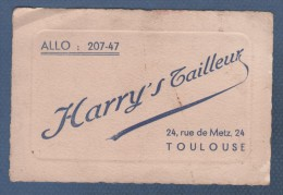 CARTE COMMERCIALE HARRY'S TAILLEUR 24 RUE DE METZ A TOULOUSE - ALLO 207-47 - Visiting Cards