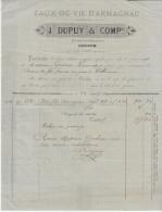 Gers, Condom, Eaux De Vie D'Armagnac J. Dupuy Et Cie Propriétaire  Négociant 1881 - Lebensmittel