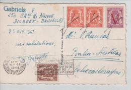 TP 419(2)-672-424 s/CP 3 TP estampill� par la croix de St.Andr�+c.m�canique BXL midi en 1947 v.Prague 637
