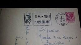 SP-000116 CARTOLINA CON FIORI - TARGHETTA PUBBLICITA' 1974 ANNO MARCONIANO - Affrancature Meccaniche Rosse (EMA)