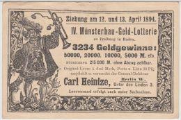 22948g  IV MUNSTERBAU - GELD - LOTTERIE - Berlin - 1894 - Ohne Zuordnung