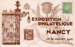 "FRANCE : 80 Cts .TYPE PÉTAIN PERFORE SUR CP . 1942 .  OBL "" EXPOSITION DE NANCY "" - 1921-1960: Modern Period"