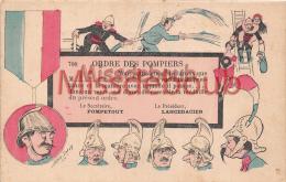 SAGER   - Illustration - Ordre Des Pompiers - Secrétaire Pompetout Et Président Lancedacier -  Dos Vierge - 2 Scans - Sager, Xavier