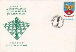 CHESS, ECHECS, NATIONAL CHAMPIONSHIP, SPECIAL COVER, 1980, ROMANIA - Schaken