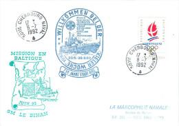 BATEAU AVISO SM LE BIHAN MISSION BALTIQUE  KIELER WOCHE  CHERBOURG  NAVAL 6/7/92 - Naval Post
