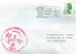 BATEAU AVISO PREMIER MAITRE L'HER  MISSION OCEAN INDIEN TOULON NAVAL 11/5/84 - Marcophilie (Lettres)