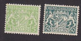 Bavaria, Scott #O7, O17, Mint Hinged, Coat Of Arms, Issued 1916 - Bavière