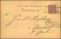 """BERLIN PE __ (RIXDORF), besserer Vorort Ra2 mit """"""""32"""""""" aptiert als Ausgabestempel 1875 auf Ganzsachenkarte ab SCHWERIN A"""