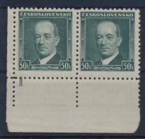 "Czechoslovakia 1935 Mi 348 Benes Pair Plate Planche Platte ""1"" MNH - Tschechoslowakei/CSSR"