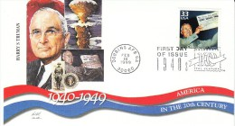 Sc#3186d 33-cent Stamp 'Harry S Truman' US President, Atomic Bomb, Celebrate The Century 1940s, 1999 FDC - First Day Covers (FDCs)