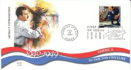 Sc#3186h 33-cent Stamp 'Jackson Pollock Abstract Expressionism' Painting, Celebrate The Century 1940s, 1999 FDC - First Day Covers (FDCs)