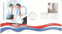 Sc#3186k 33-cent Stamp 'International Style Of Architecture' Men Blueprints, Celebrate The Century 1940s, 1999 FDC - 1991-2000