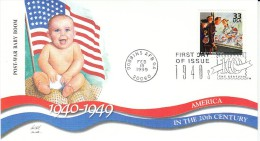 Sc#3186l 33-cent Stamp 'Post War Baby Boom' US Flag, Celebrate The Century 1940s, 1999 FDC - 1991-2000