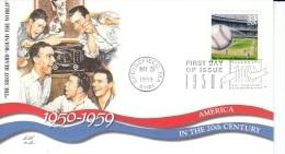 Sc#3187c 33-cent Stamp 'Shot Heard Round The World' Baseball Radio, Celebrate The Century 1950s, 1999 FDC - FDC