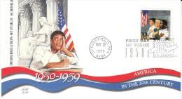 Sc#3187f 33-cent Stamp, 'Desegregation Public Schools' Black Equality Education, Celebrate The Century 1950s, 1999 FDC - 1991-2000