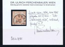 Austria Lombardo Veneto 1859 Zeitungstempelmarke  Nr 2  Used Verona Approvato  Dr. Ferchenbauer - Lombardo-Venetien
