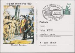 Allemagne 1992. Privatganzsache, Entier Postal Timbré Sur Commande. Christophe Colomb, Indigènes Nus, Santa Maria - American Indians