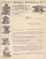 Lettre Commerciale 1899 Scieries & Machines à Travailler Le Bois Kirchner & Cie 77 Rue Manin Paris Pontarlier - Francia